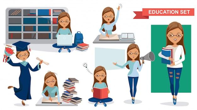 Menina de faculdade. conjunto de mulheres estudantis de educação. conceito de atividade de estudante.