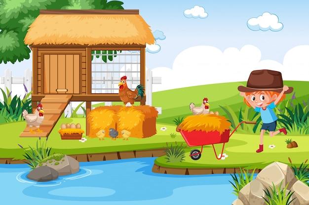 Menina de fazenda e galinhas pelo rio