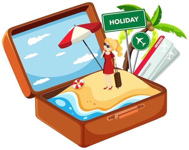 Menina de férias na mala
