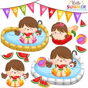 Menina de festa de piscina de melancia