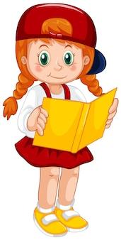 Menina de haird vermelho segurando o livro