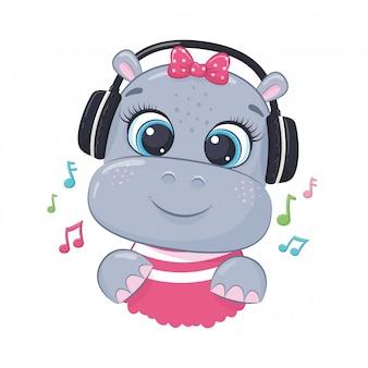 Menina de hipopótamo bonito dos desenhos animados com fones de ouvido ouve música