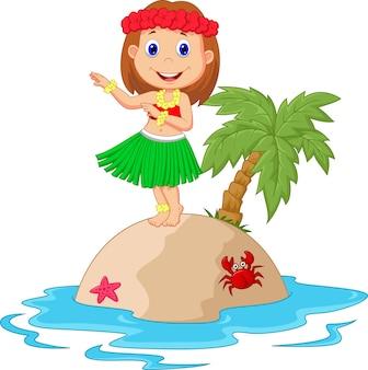 Menina de hula na ilha tropical