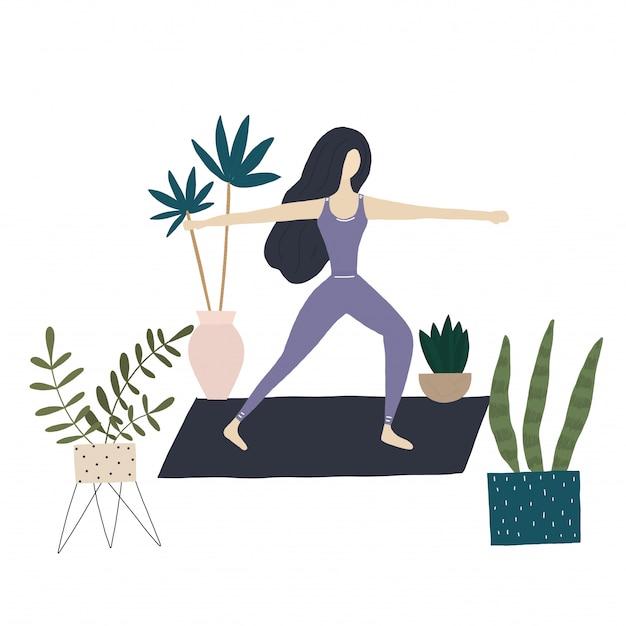 Menina de ioga e plantas em casa