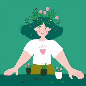 Menina de jardinagem plantando flores no jardim