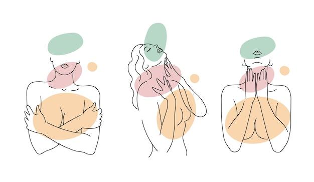 Menina de linha silhuetas minimalistas abstratas com manchas coloridas desenhadas por uma silhueta feminina
