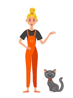 Menina de macacão com um gato. estilo dos desenhos animados. ilustração.