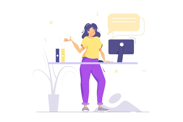 Menina de óculos em pé à mesa, trabalhando no computador, bolha, pastas, isolado no fundo branco