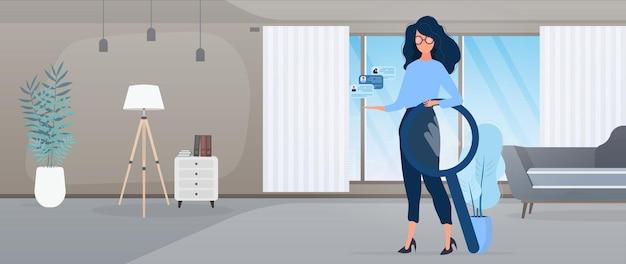 Menina de óculos. especialista em contratação e busca de pessoal. o conceito de encontrar pessoas para trabalhar, visualizando vagas e currículos.