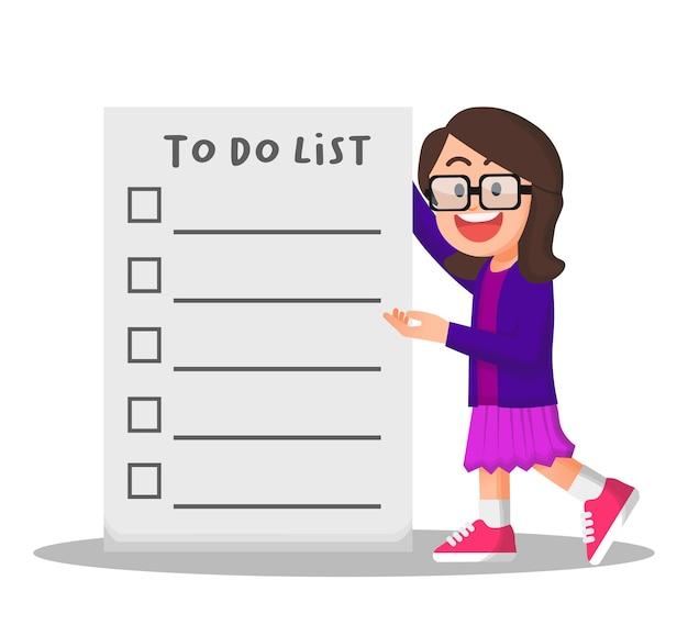 Menina de óculos segurando uma lista de tarefas vazia