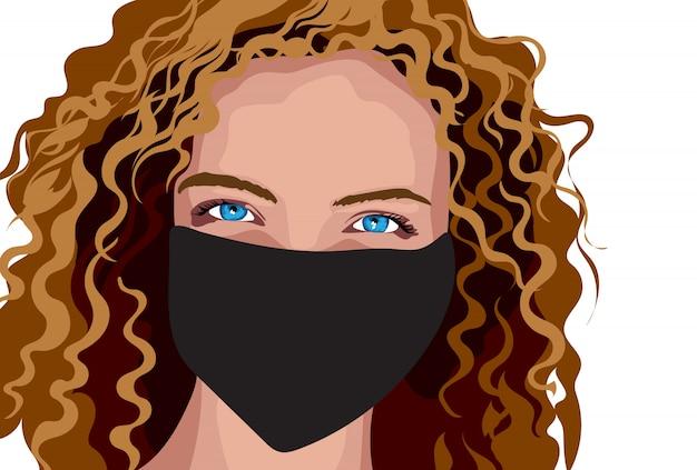 Menina de olhos azuis com cabelo castanho cacheado e máscara cirúrgica
