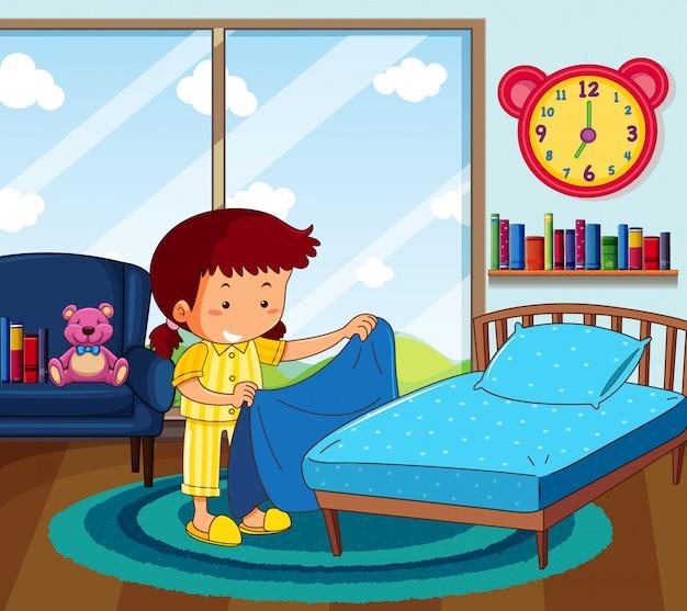 Menina de pijama amarela fazendo cama no quarto
