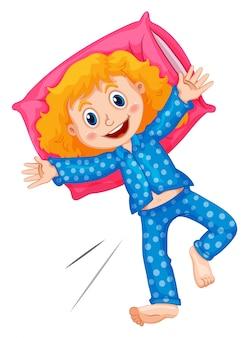 Menina de pijama de bolinhas azuis