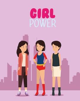 Menina de protesto na cidade com mensagem de poder feminino