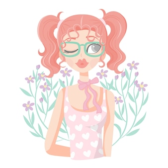 Menina de rabo duplo com floral