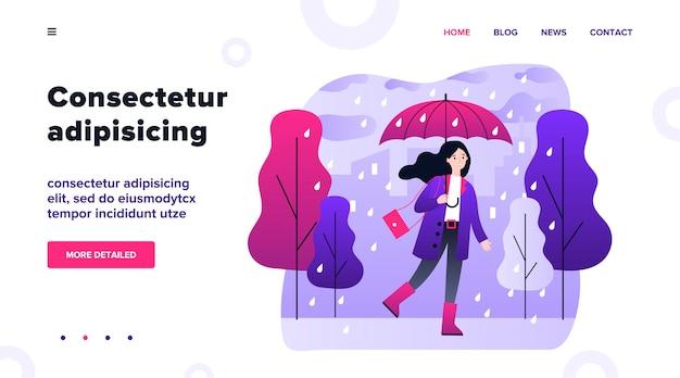 Menina de sorriso feliz com guarda-chuva que anda na ilustração do dia chuvoso. mulher que fica ao ar livre em tempo caindo. personagem feminina indo na chuva. temporada, outono e paisagem conceito