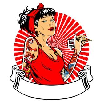 Menina de tatuagem com banner em branco