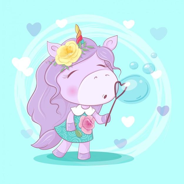 Menina de unicórnio bonito dos desenhos animados com flores soprando bolhas de sabão.