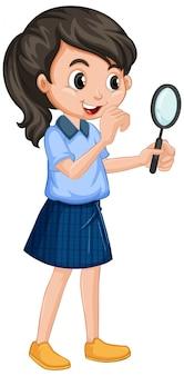 Menina de uniforme com lupa em branco