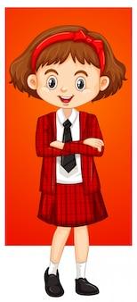Menina de uniforme escolar vermelho