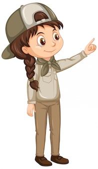 Menina de uniforme escoteiro em fundo isolado