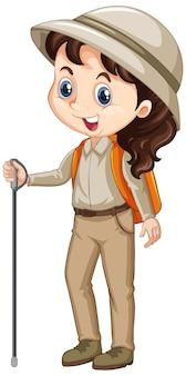 Menina de uniforme escoteiro
