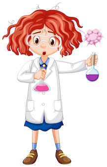 Menina de vestido de ciência segurando tubos de ensaio