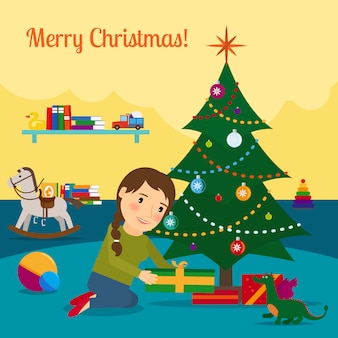 Menina, decorar, árvore natal
