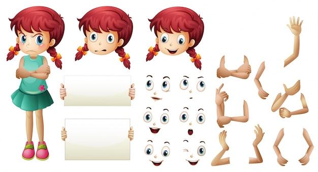 Menina definida com diferentes gestos de mão e ilustração de expressões faciais