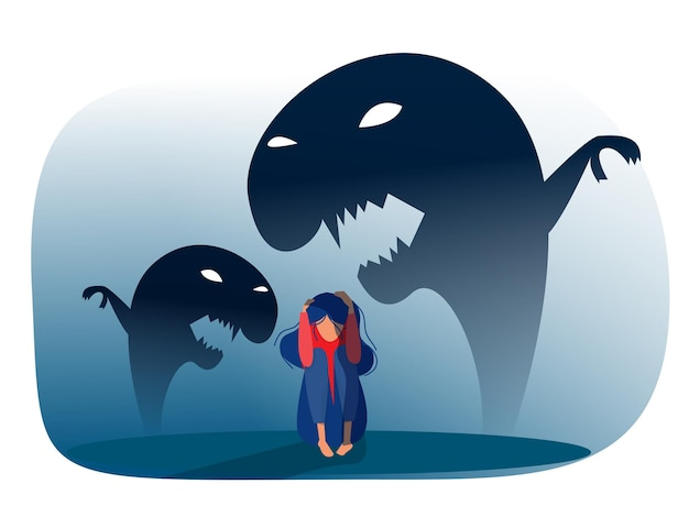 Menina deprimida com ansiedade e fantasias assustadoras, sentindo tristeza, medos, ilustração vetorial de tristeza