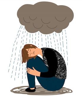 Menina deprimida e chuva a chorar