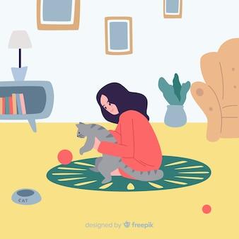 Menina desenhada de mão em casa fundo