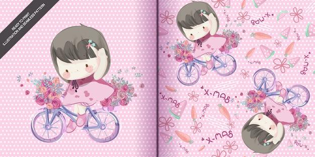 Menina desenhada mão andando de bicicleta