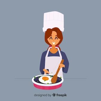 Menina desenhada mão cozinhar fundo
