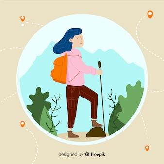 Menina desenhada mão viajando fundo