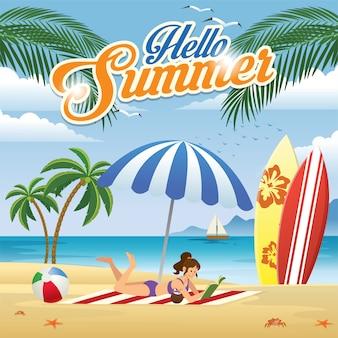 Menina, desfrutando, praia, em, verão