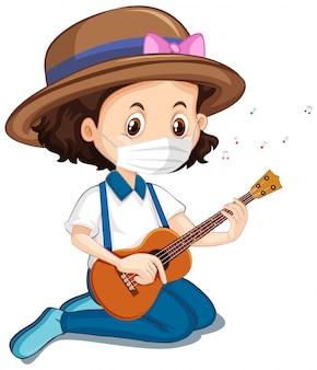 Menina, desgastar, máscara, violão jogo