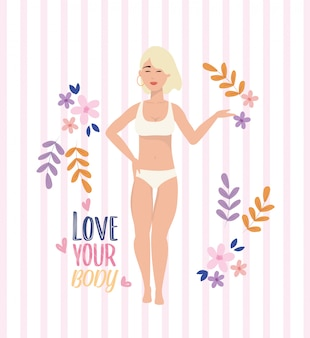 Menina, desgastar, underclothes, com, postura corpo, estilo vida