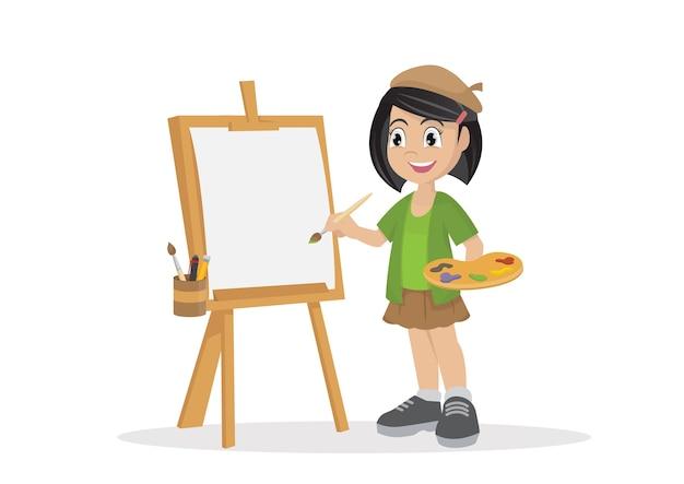 Menina do artista que pinta na lona.
