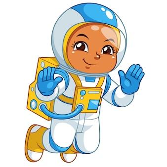 Menina do astronauta que flutua no espaço vazio.