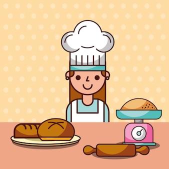 Menina do chef fazendo escala de pino de rolo de farinha de pão