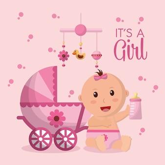 Menina do chuveiro de bebê