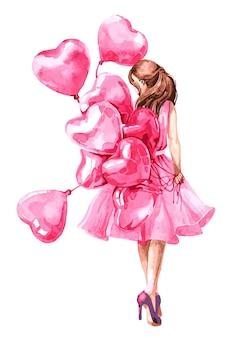 Menina do dia dos namorados com balão em forma de coração