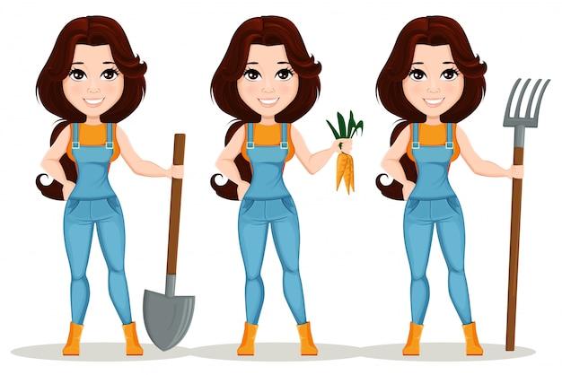Menina do fazendeiro vestida em macacão de trabalho. conjunto