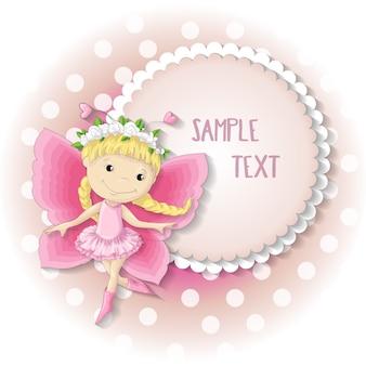Menina doce da borboleta em um vestido cor-de-rosa.