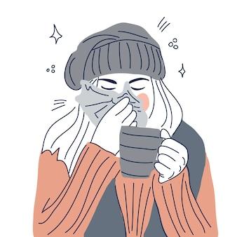 Menina doente assoar o nariz