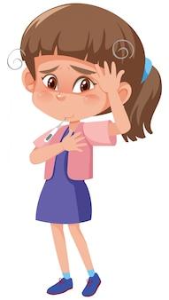 Menina doente com febre alta e dor de cabeça em branco