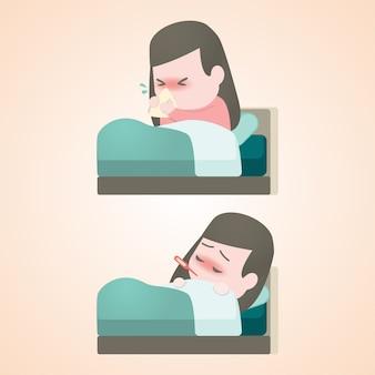 Menina doente criança deitada na cama com um termômetro