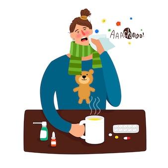 Menina doente de desenhos animados com febre