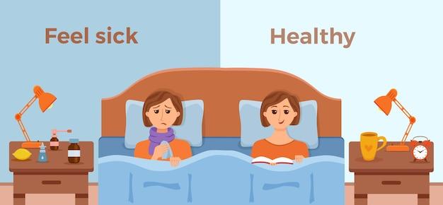 Menina doente na cama com sintomas de resfriado, gripe e sentir-se bem, homem saudável com livro